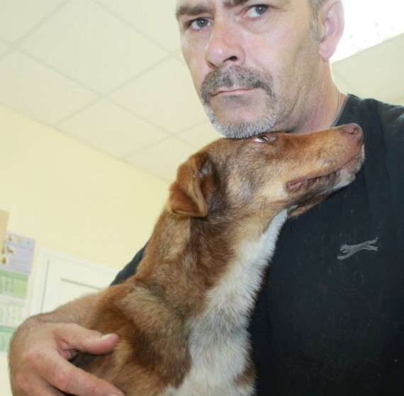 Their shelter was full, so Tony took Duke home to stay with his other dogs and cats.